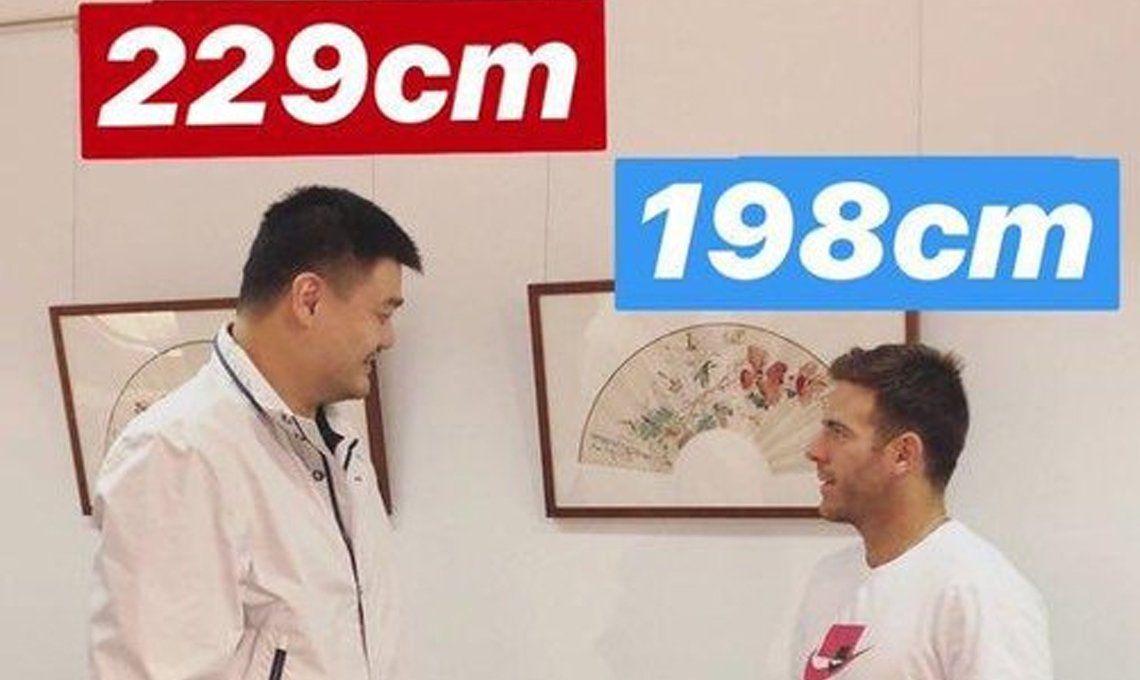 Abierto de China: la graciosa foto de Juan Martín del Potro junto al gigante Yao Ming