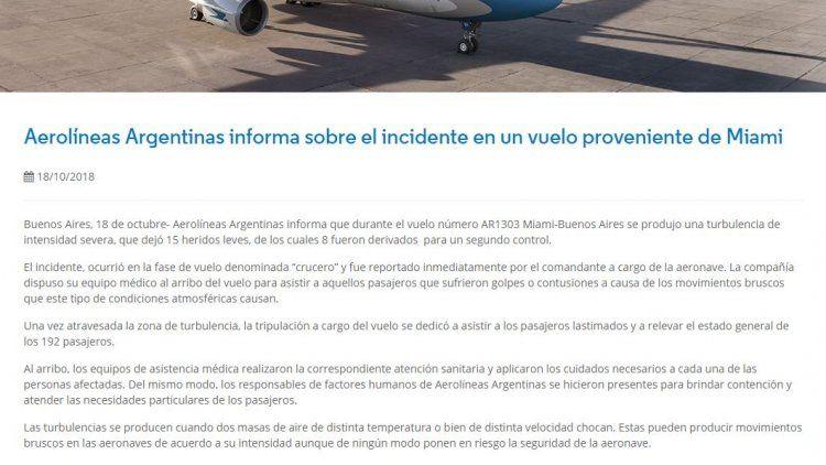 Pánico en vuelo de Aerolíneas Argentinas: una turbulencia dejó 15 heridos