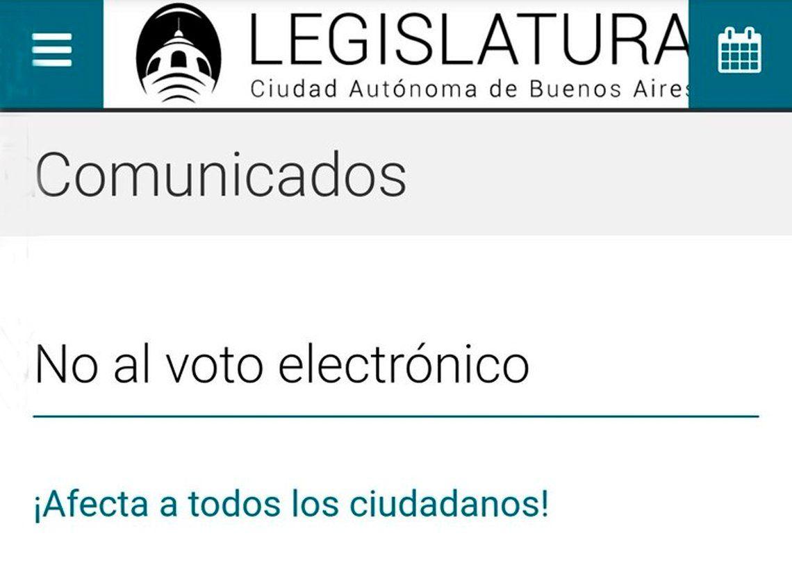 Tras el avance hacia el Voto Electrónico, la web de la Legislatura porteña fue vulnerada por hackers que publicaron un mensaje en contra