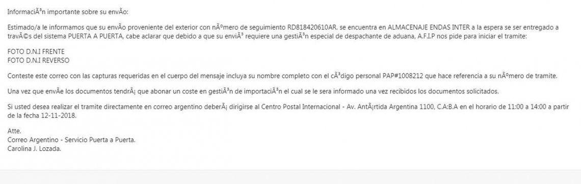 Envíos puerta a puerta: alertan sobre un falso mail del Correo Argentino