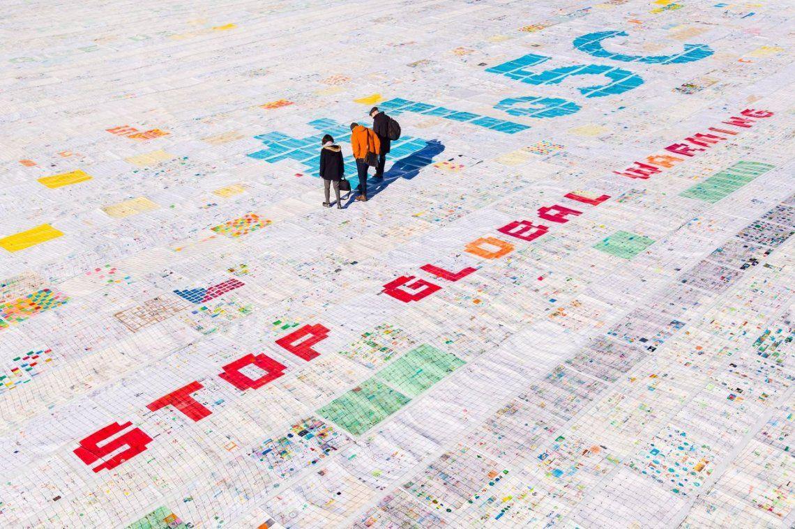 La postal más grande del mundo que denuncia el calentamiento global
