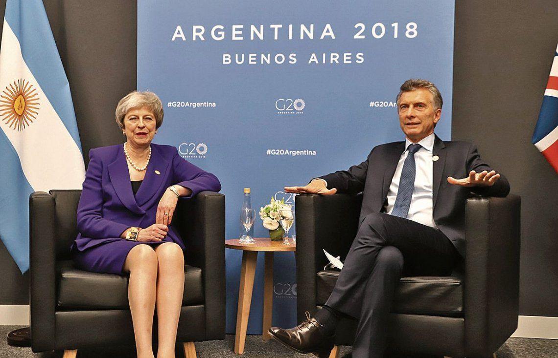 dTheresa May y Macri dialogaron durante unos veinte minutos