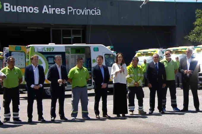 El anuncio de María Eugenia Vida ayer por la mañana en el Estadio Unico de La Plata.