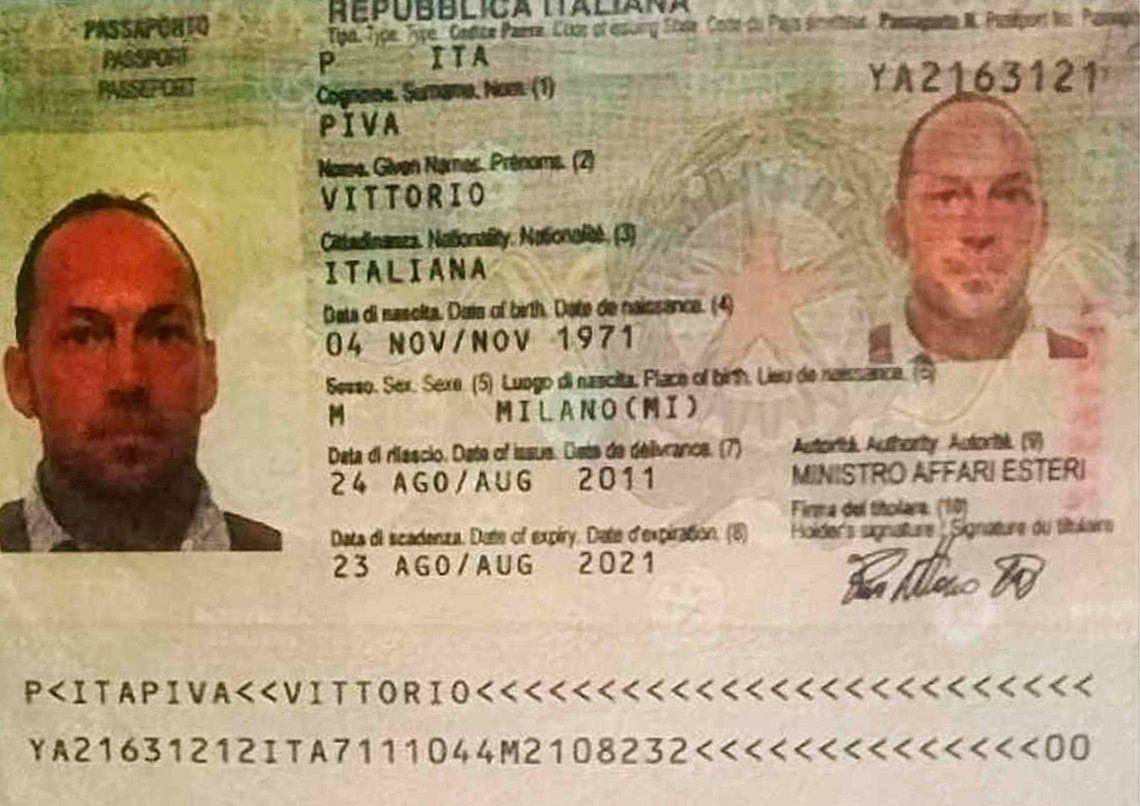 El documento de Piva fue encontrado por la policía.