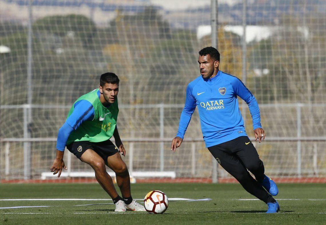 Tevez con la pelota en el predio Las Rozas de Madrid - Prensa Boca