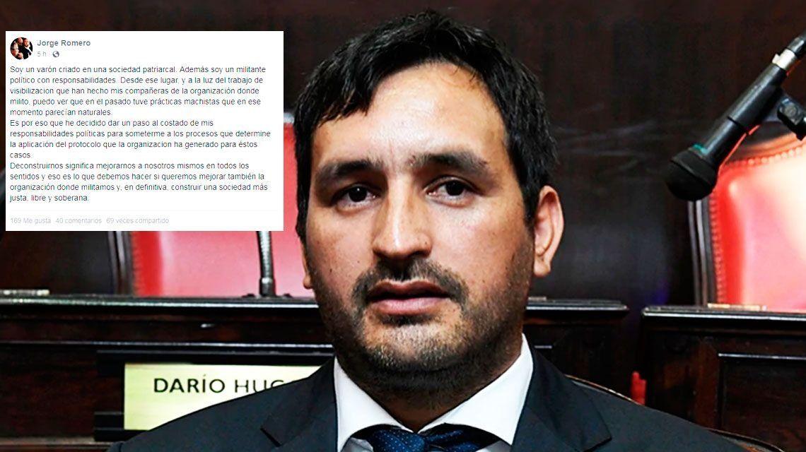 Renunció el senador de La Campora Jorge Romero tras haber sido denunciado por abuso sexual