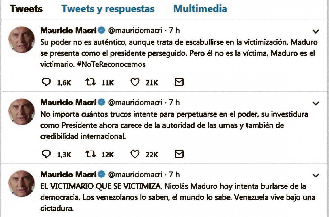 El jefe de Estado argentino utilizó la red social para criticar al mandatario caribeño.