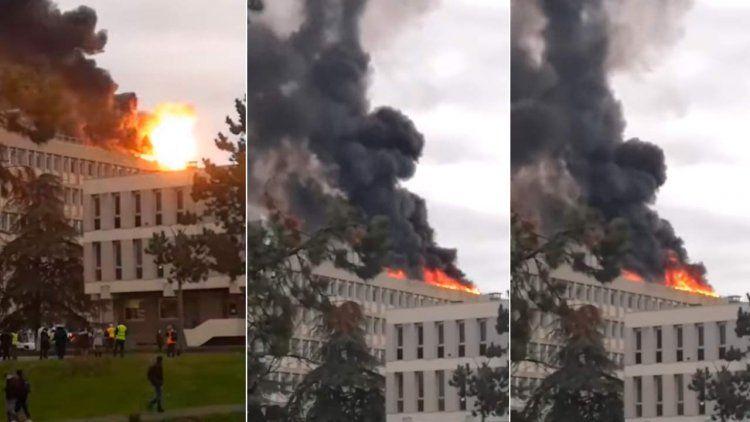 Una espectacular explosión en la Universidad de Lyon dejó un herido
