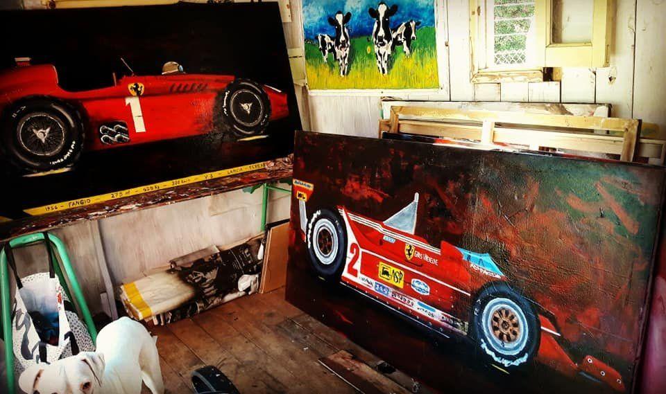 Algunas de las pinturas del artista argentino.