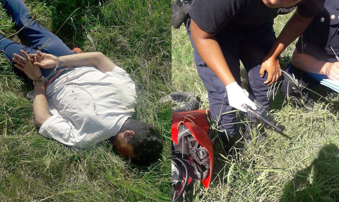 Morón: tras eludir un control policial, dos motochorros armados fueron perseguidos, perdieron el control de la moto y terminaron arrestados