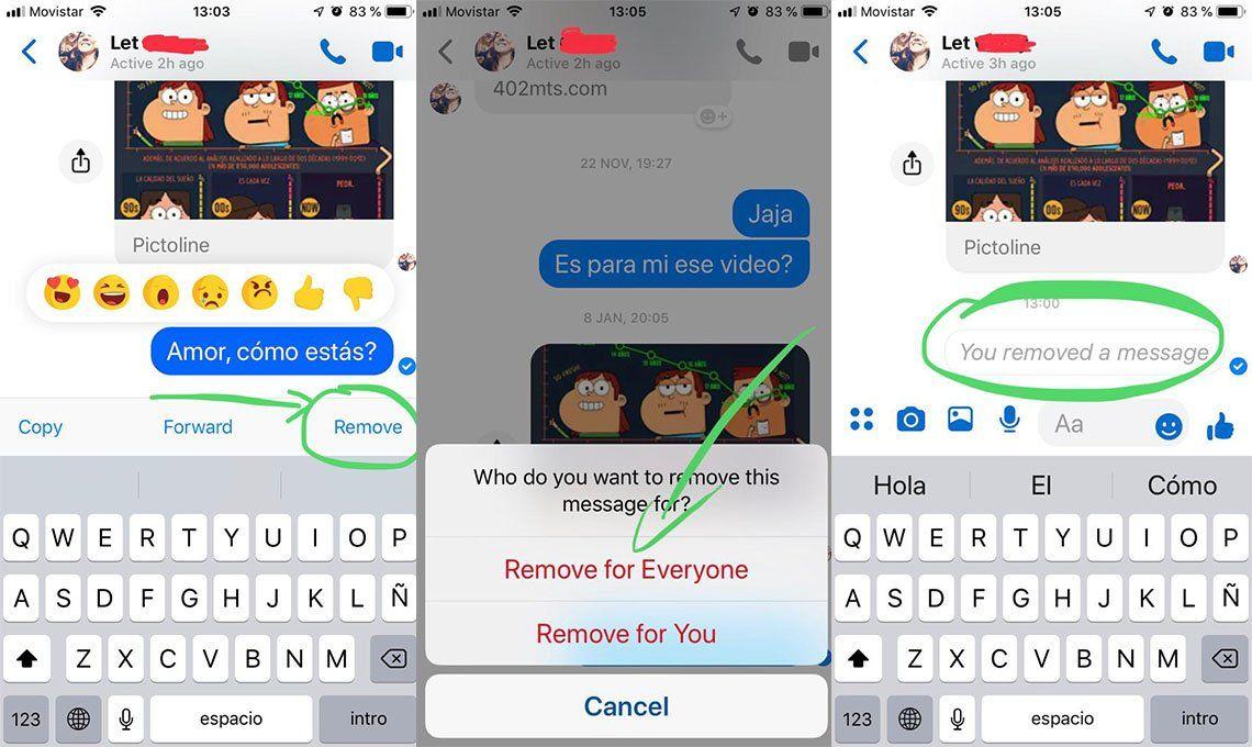 Facebook Messenger: cómo eliminar mensajes enviados