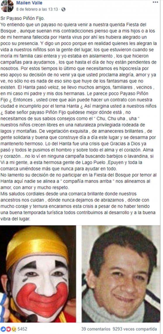 Escracharon a Piñon Fijo sin maquillaje por bajarse de un show en Lago Puelo