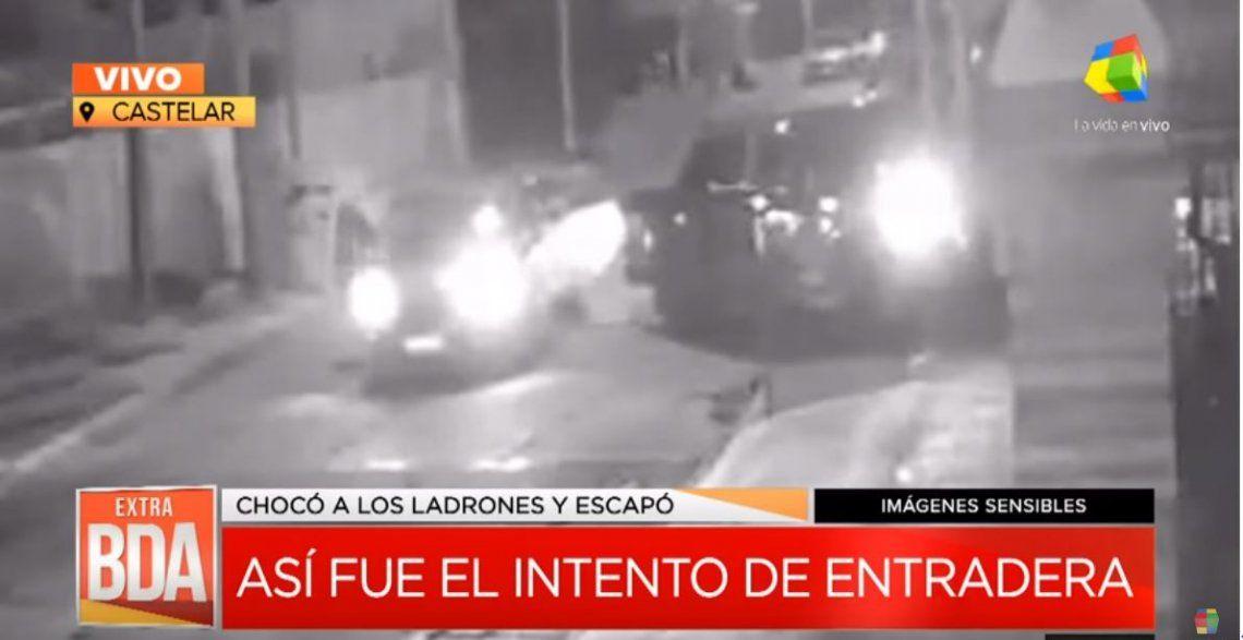 Castelar: evitó una entradera al chocar el auto de los delincuentes y fue baleado