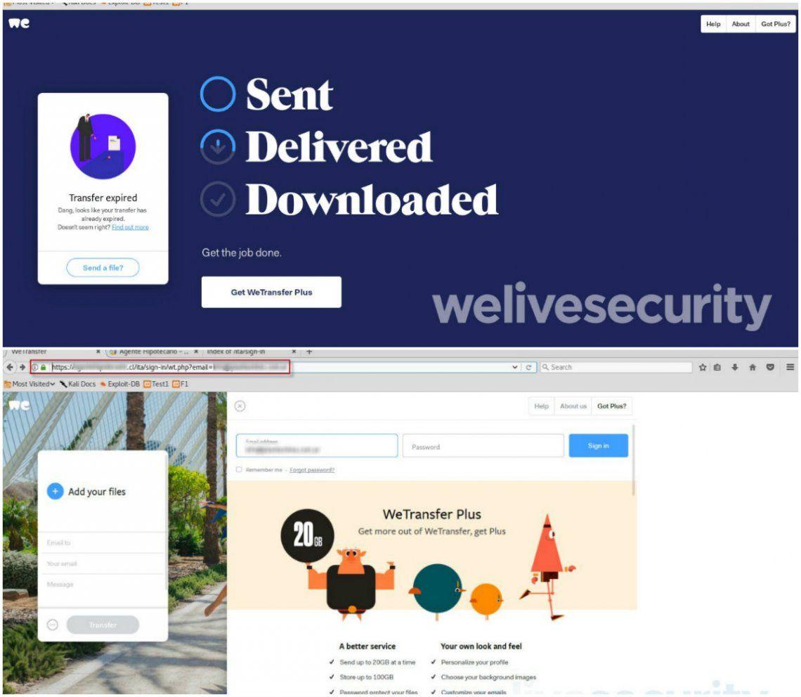 La nueva estafa de los hackers: correos falsos de WeTransfer