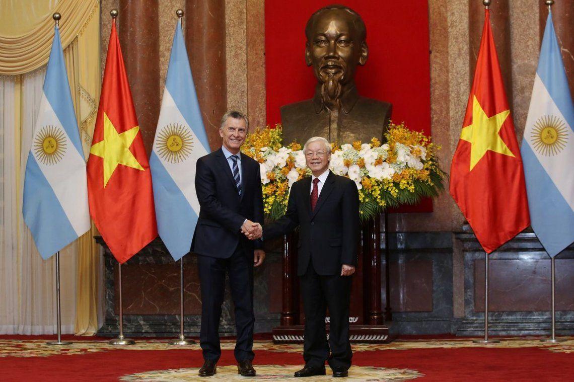 Mauricio Macri se reunió con Phu Trong, presidente de Vietnam, en el final de su gira