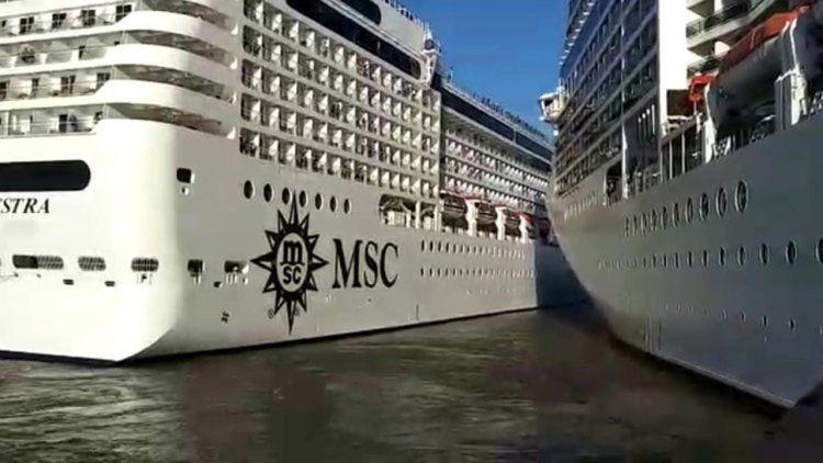 El insólito choque entre cruceros en el puerto de Buenos Aires