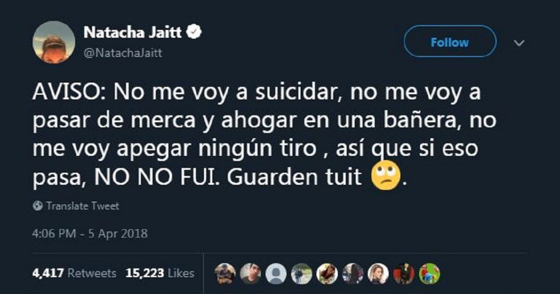 Los mensajes de Natacha Jaitt en Twitter antes de morir: ¿paranoia o premonición?