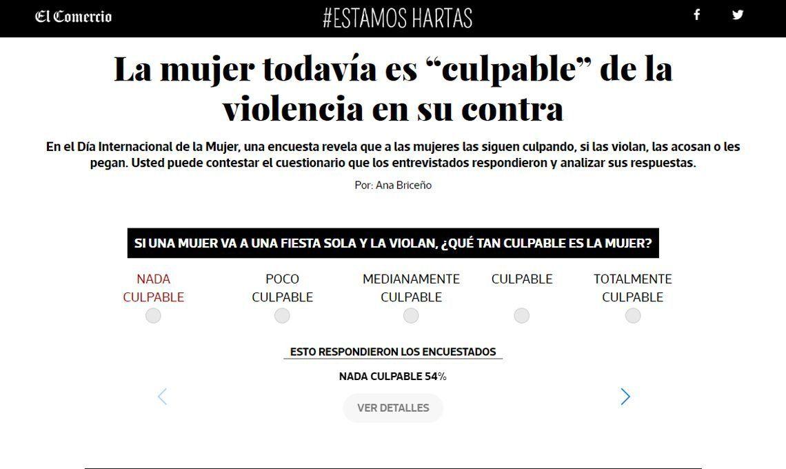 #8M   El 71% en Perú cree que la mujer es culpable si el marido la golpea por infiel