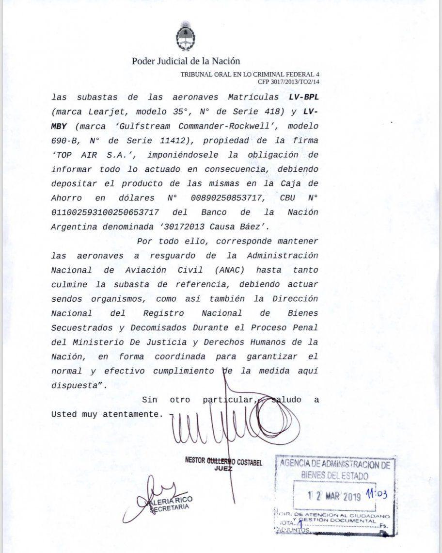 Bienes de la corrupción: subastarán aviones de Lázaro Báez