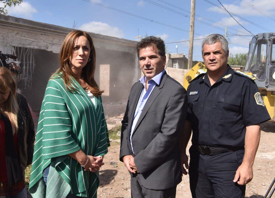 Vidal y Ritondo supervisaron el derribo del búnker Nº 100