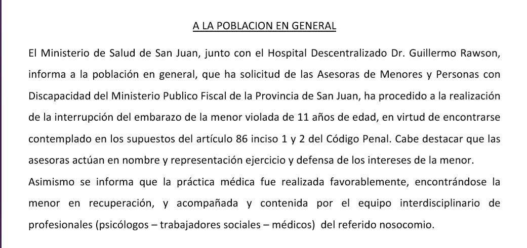 San Juan: le practicaron un aborto a la nena de 11 años que fue violada por su padrastro