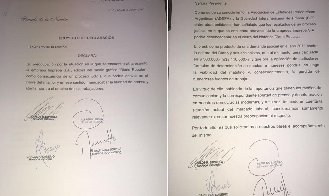 Fallo judicial contra Popular: los senadores Pichetto, Espinola, Luenzo y Caseiro también apoyan al diario