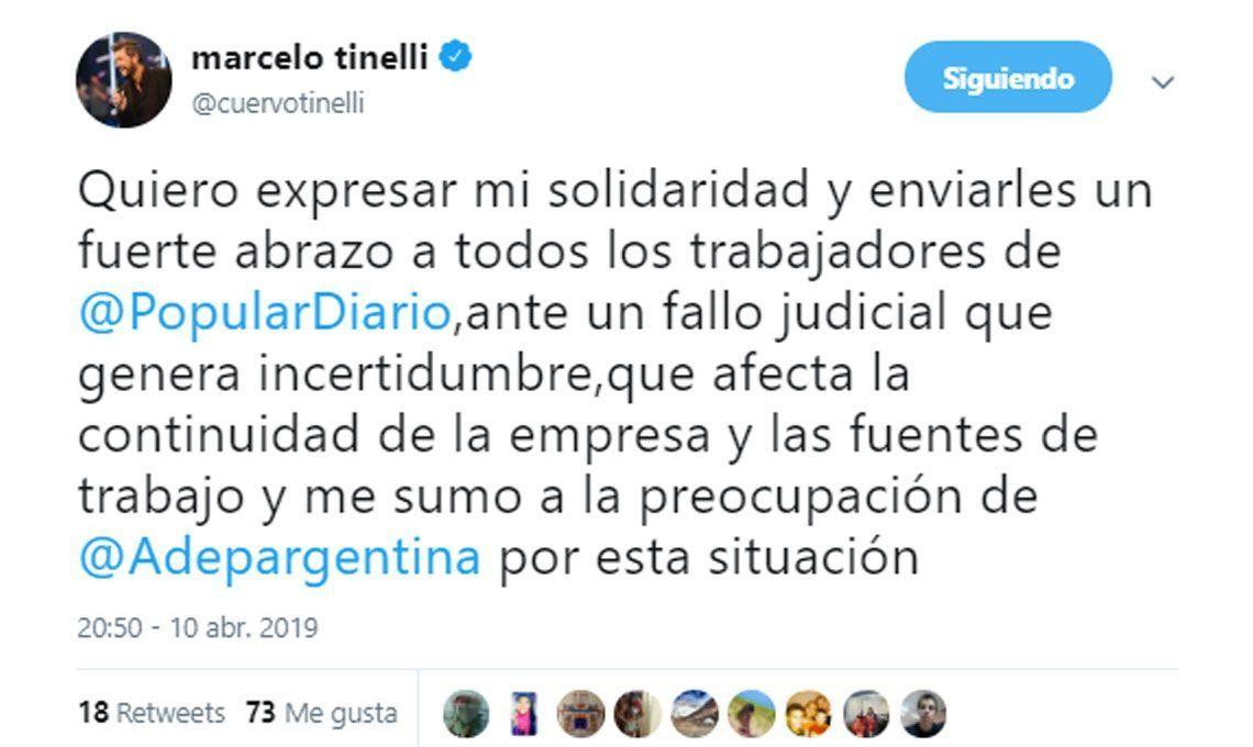 Marcelo Tinelli se solidarizó con la empresa y los trabajadores por el fallo judicial contra Diario Popular