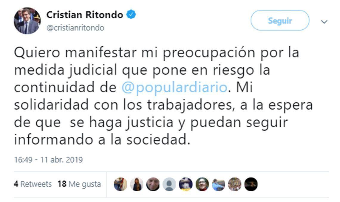 Fallo judicial contra Popular: Cristian Ritondo y Diego Santilli, también se solidarizaron con Popular y sus trabajadores