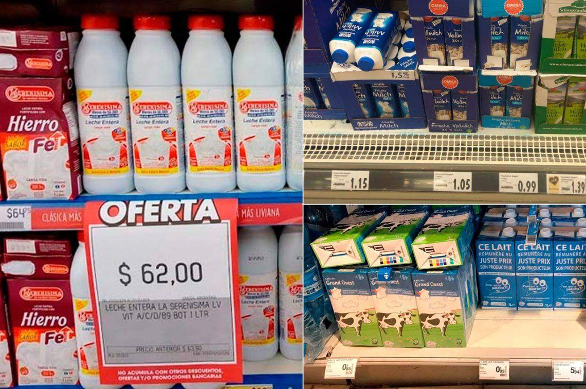 La leche es más cara en Argentina que en Europa y Estados Unidos