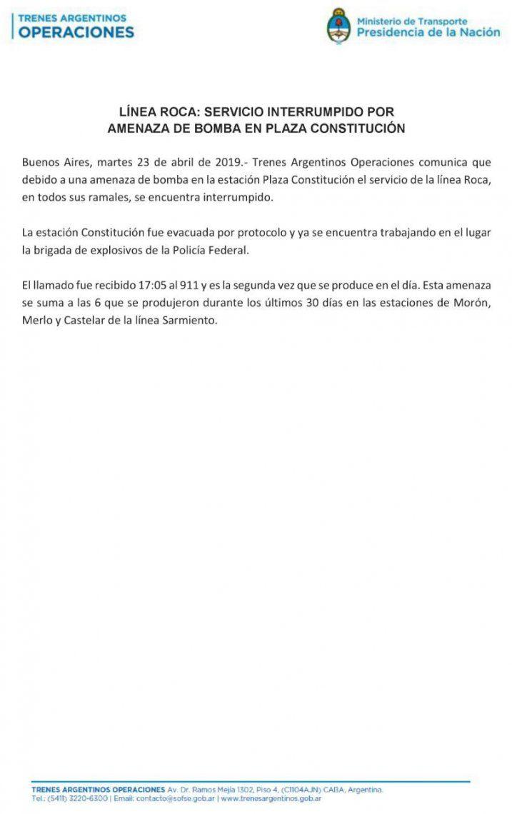 Constitución: se reestablecieron los servicios del Tren Roca tras una amenaza de bomba