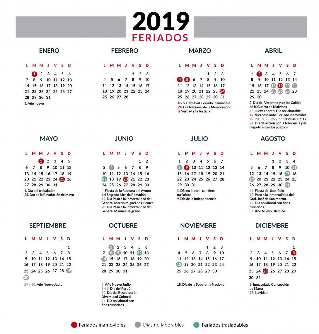 Calendario Diciembre 2018 Argentina.Feriados 2019 En Argentina El Calendario Completo Feriados