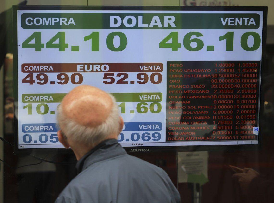 Pese a la suba de las tasas, el dólar se disparó y cerró a $46,08, su máximo histórico