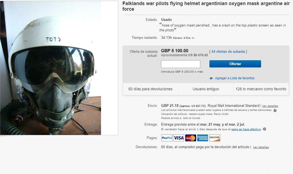 Guerra de las Malvinas: se vendió por más de $700.000 un casco del veterano argentino Miguel Manuel Navarro en una subasta electrónica en Londres