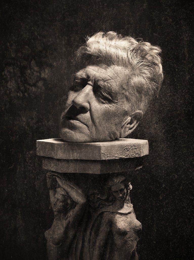 David Head on a Pedestal - Art on a Postcard