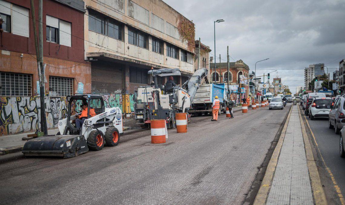 Las obras en la avenida Yrigoyen