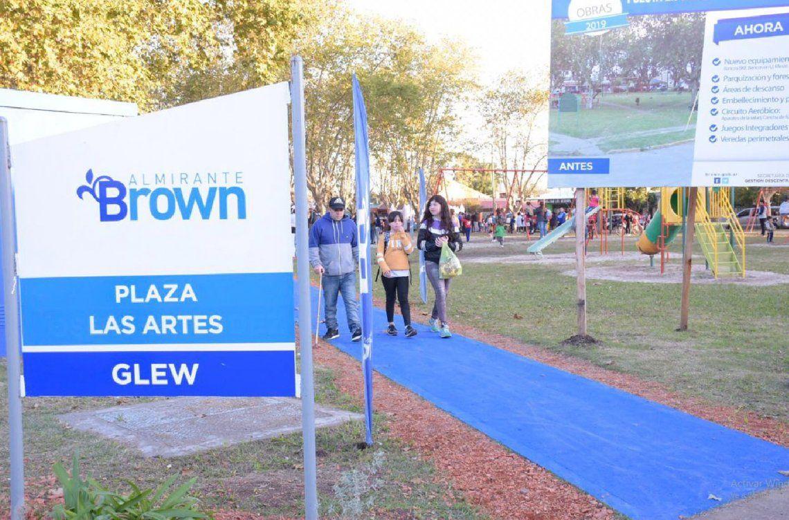 Almirante Brown: vecinos de Glew disfrutan renovada plaza De Las Artes