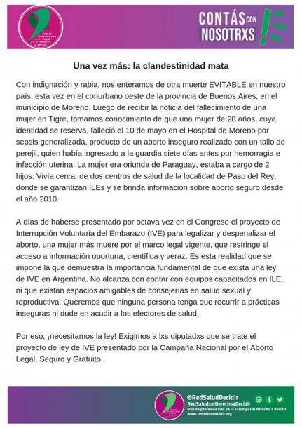 Moreno: una mujer murió por un aborto clandestino con un tallo de perejil