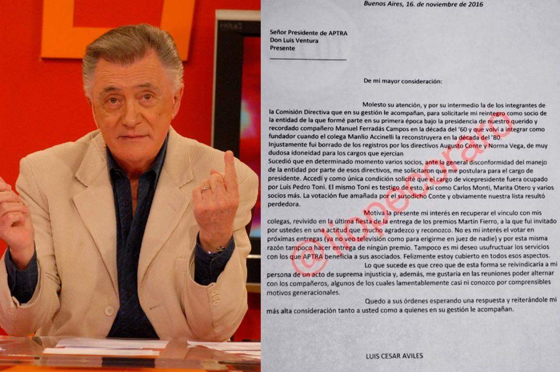 Lucho Avilés envió una carta a APTRA y murió esperando la respuesta