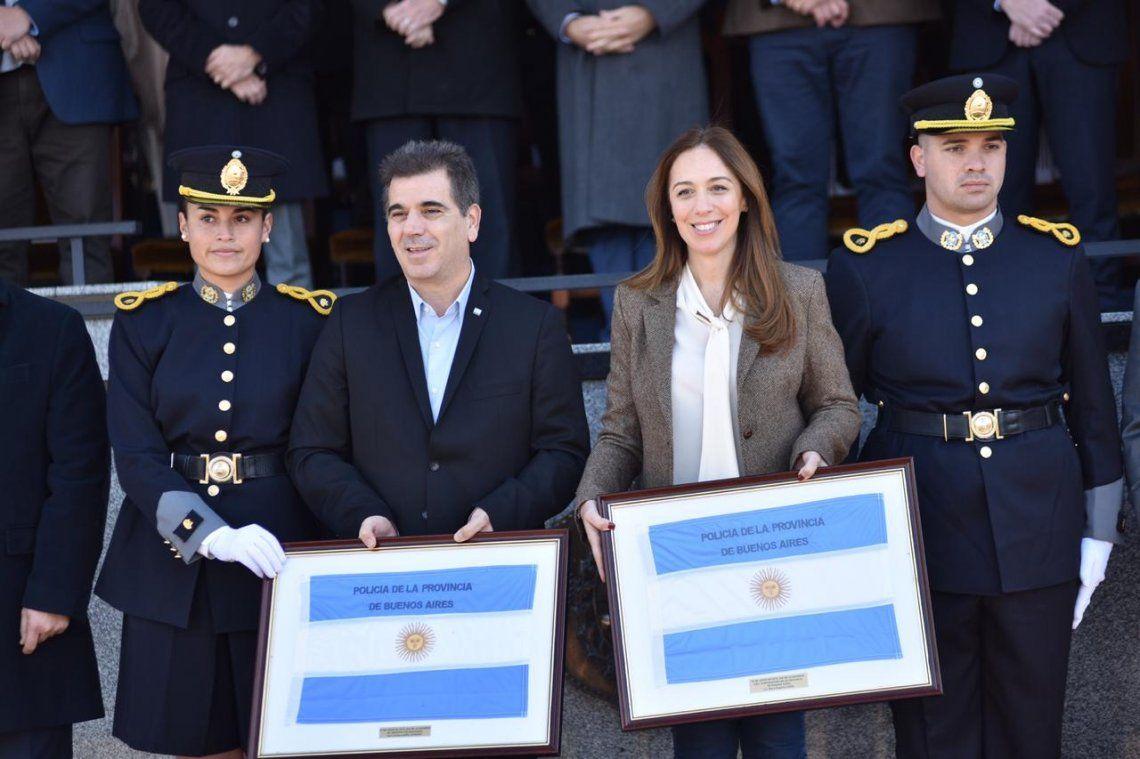 Vidal y Ritondo participaron de la jura a la bandera de 2300 cadetes de la Policía de la Provincia