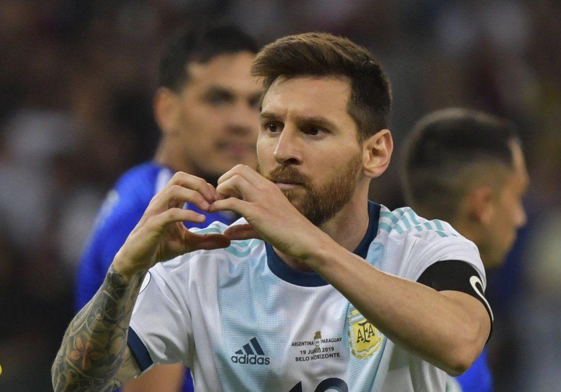 Un guiño para el club de amigos: Messi le dedicó el gol a Di María