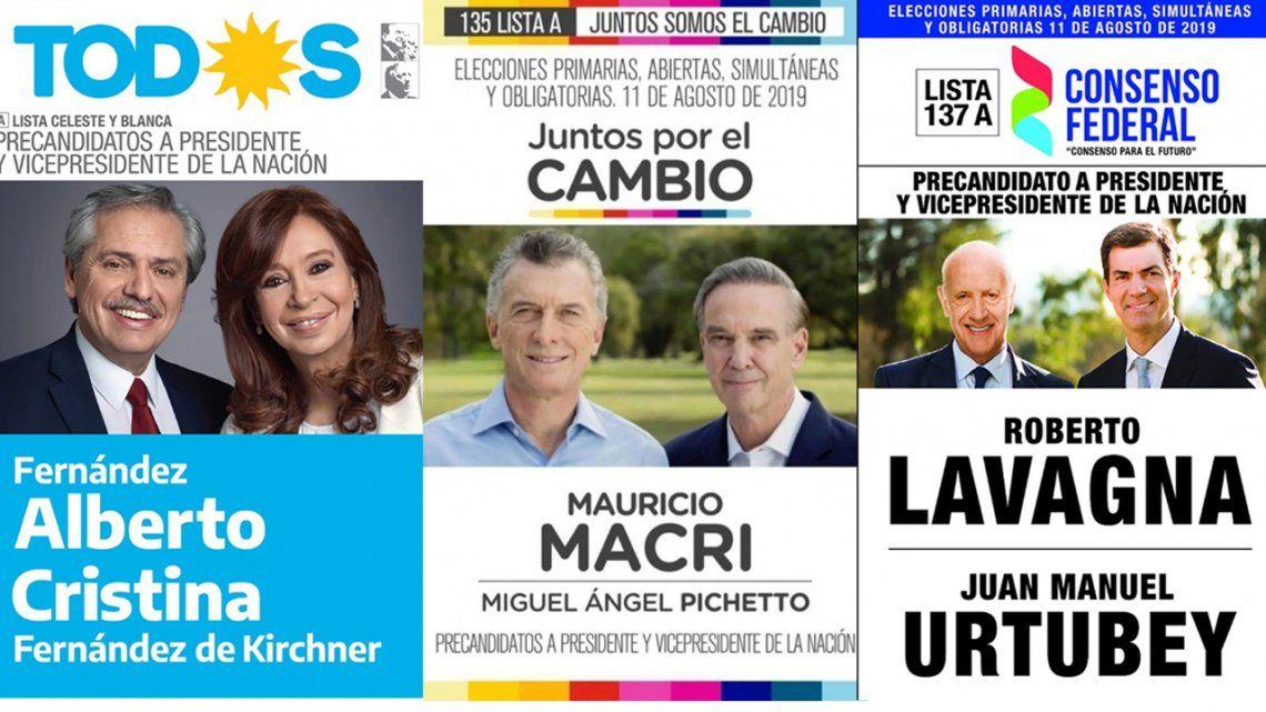 PASO 2019: las candidaturas a presidente y vice de todos los partidos