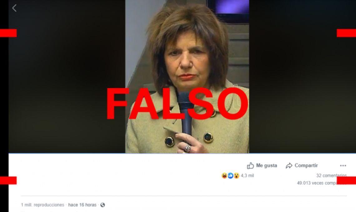 Es falso el video de Bullrich donde parece borracha