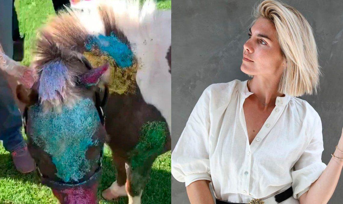 Repudiaron a Delfina Blaquier en las redes sociales por pintar un pony con purpurina