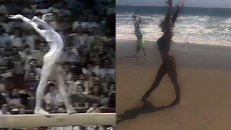 La ex gimnasta Nadia Comaneci recreó su histórico 10 en la playa