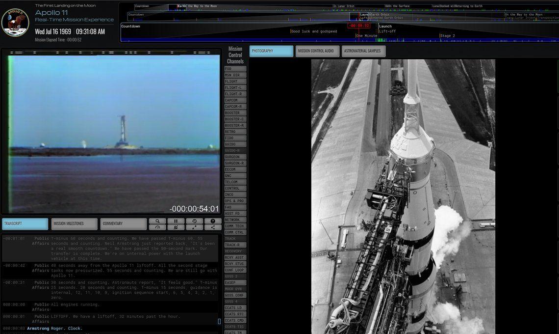 Viví en tiempo real la misión Apolo 11 que llevó al hombre por primera vez a la Luna