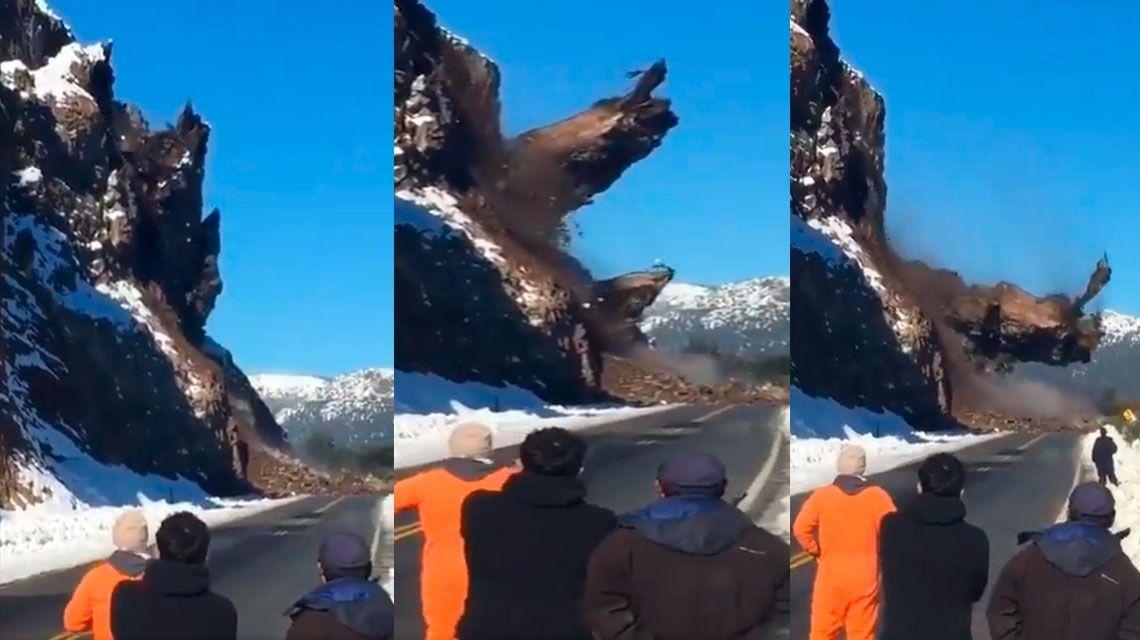 Bariloche: impresionante desprendimiento en la ruta 40