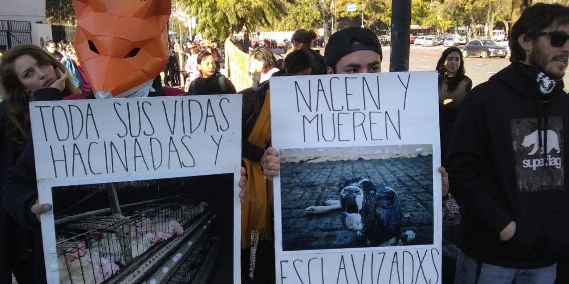 Los veganos volvieron a manifestarse en La Rural, esta vez fuera del predio