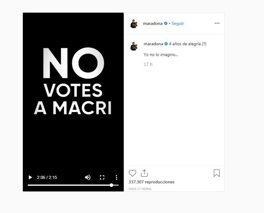 Diego Maradona publicó un video en Instagram pidiendo que no voten a Macri