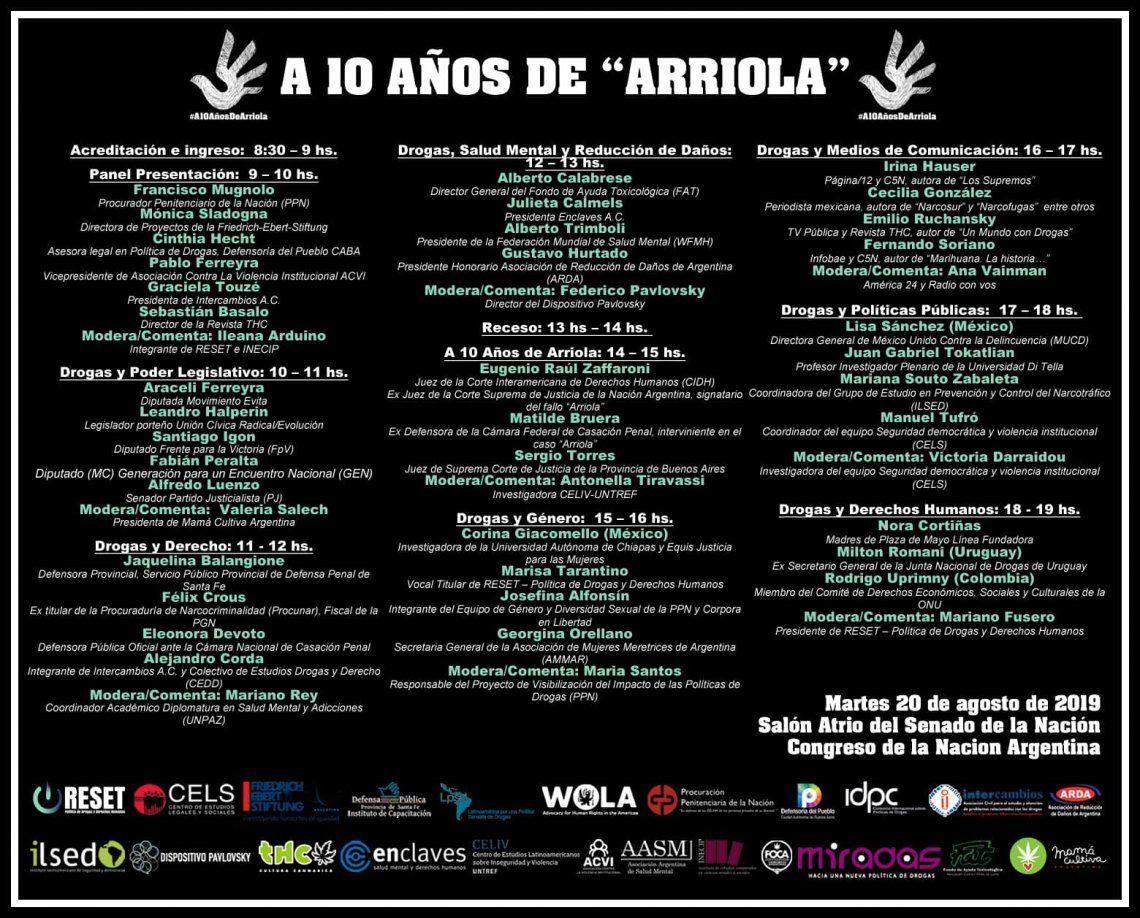 10 Años del fallo Arriola: habrá conmemoración y debate en el Congreso de la Nación, el 20 de agosto de 2019