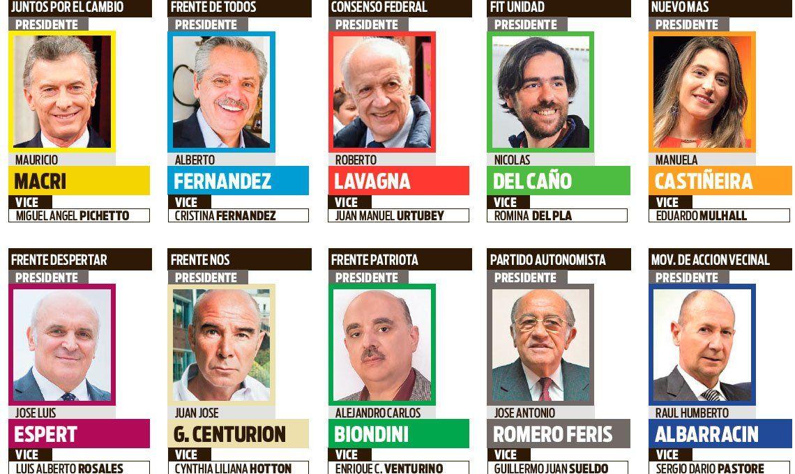 PASO 2019 | Diez fórmulas presidenciales se miden de cara a octubre